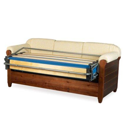 Divano letto 3 posti venezia in legno rustico per casa - Divano letto rustico ...