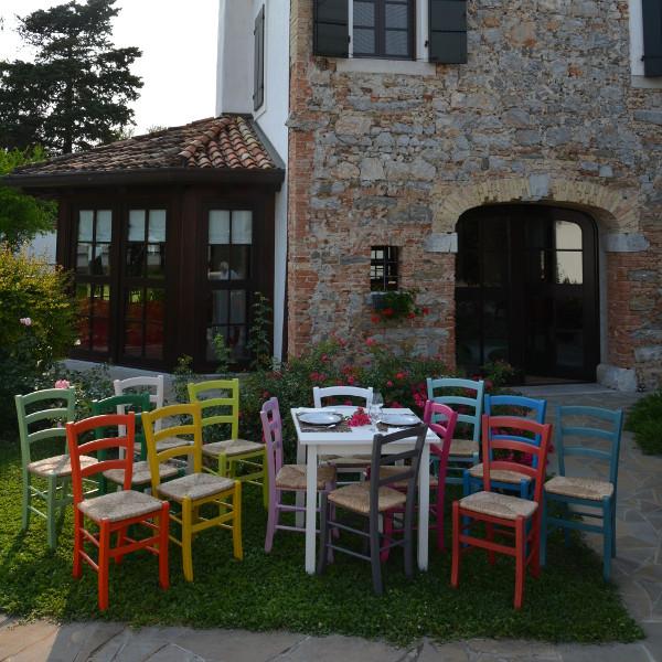 Set vera tavolo bianco 4 sedie colorate impagliate in for Sedie legno colorate