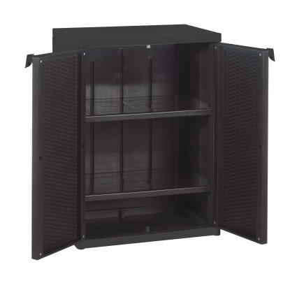 Rattan Style Low Multipurpose Cabinet System in resin for outdoor / terrace Living Furniture BIA-02-289 0