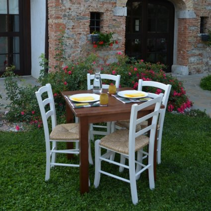 Alina Wooden Table + 4 antique lacquered wooden with straw seat Chairs Set for home, restaurants, pizzerias, communities and bars OFFERTE MI-SET-ALINA 1