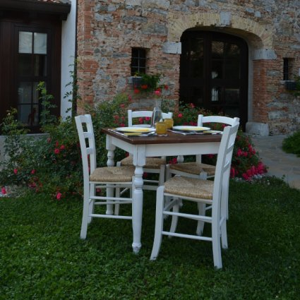Antiqued Shabby Chic Wooden Table + 4 antique lacquered wooden with straw seat Chairs Set for home, restaurants, pizzerias, communities and bars Mobililar MI-SET-03 0