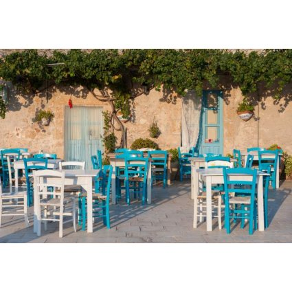 Emy White Table + 4 white/turquoise wooden straw seat Chairs Set for home, restaurants, pizzerias, communities and bars OFFERTE MI-SET-RUSTICO-BIANCO-TURCHESE 0