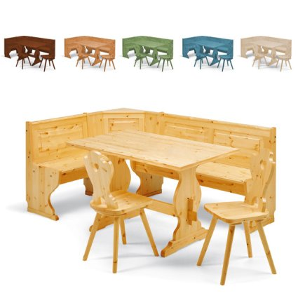 Set Priamo wooden corner seat 133 x 193 bench + 130 Table + 2 Curva Cuore Chairs rustic country kitchen restaurant pizzerias community bar Avea AV-SET-PRIAMO 1