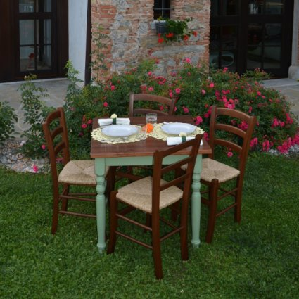 Sissi Wooden Table + 4 walnut wooden with straw seat Chairs Set for home, restaurants, pizzerias, communities and bars Mobililar MI-SET-SISSI 1