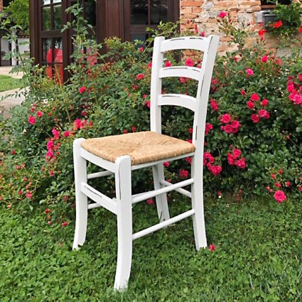 Venezia Chair Lacquered Antiqued White Straw Seat Palma 42A-D2D-PV 6