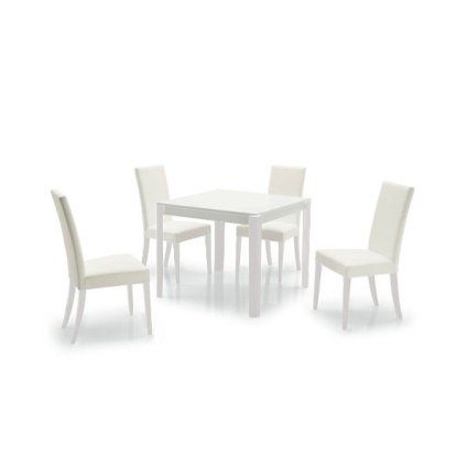 Zoe white Table + 4 Padded Confort New Chairs Set for home, restaurants, pizzerias, communities and bars Mobililar MI-SET-05 0
