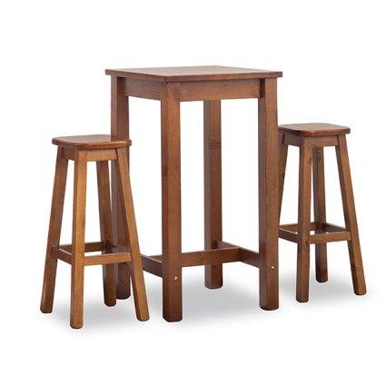 Set Mia Tavolo alto quadrato 60x60 + 2 sgabelli in legno per casa, ristoranti, pizzerie, comunità e bar Avea AV-H/309-A-T/063-BAR 0