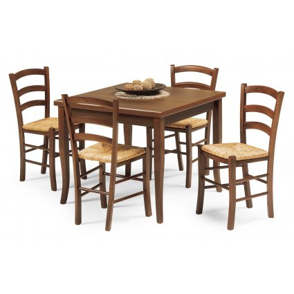 Set Rustic Table + 4 Bar restaurant chairs  Mobililar MI-SET-01 0