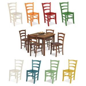 Asia Walnut Table and 4 Colored wooden seat Chairs Set for home, restaurants, pizzerias, communities and bars Mobililar MI-SET-RUSTICO-NOCE-COLORE-LEGNO 0
