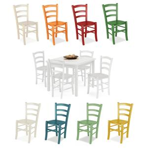 Elsa White Table and 4 Colored wooden seat Chairs Set for home, restaurants, pizzerias, communities and bars Mobililar MI-SET-RUSTICO-BIANCO-COLORE-LEGNO 0