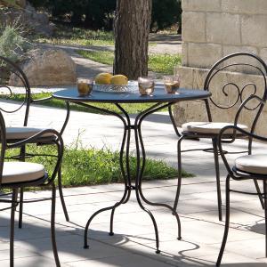 Rondò Vermobil fixed round metal Table 80 for garden Tavoli VM-SP800 1