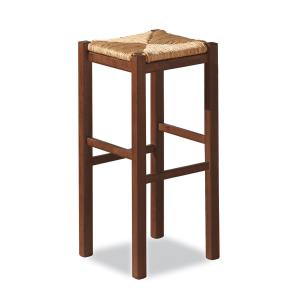 Rustica High h.75 wooden stool with straw seat for home, restaurants, pizzerias, communities and bars OFFERTE 425X-RIST 0