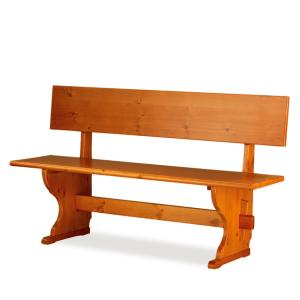 Fedra pizzeria 130 wood Bench with backrest rustic country kitchen restaurant community bar Outlet 1PAFED13102outlet 0