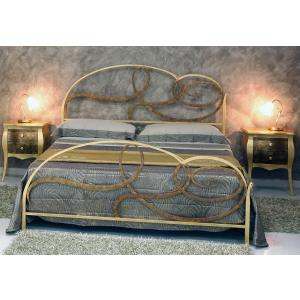Wrought Iron Domus Double Bed  Bedroom Furniture DM-LTFB-Foglia Oro-Bronzo 0