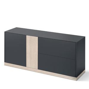 Domitalia Contour-185-Lacquered Anthracite Matt Sideboard  Cupboards DO-CONTOUR-185-LACCATO-ANTRACITE-OPACO 0