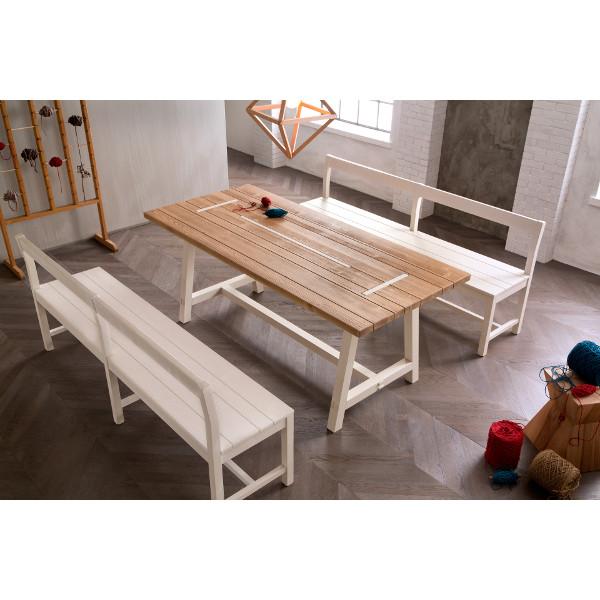 table rustique en bois shabby chic new fratino 200 mobilclick. Black Bedroom Furniture Sets. Home Design Ideas