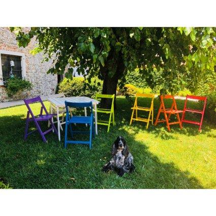 Set Aila Tavolo + 4 Sedie pieghevoli in legno per casa, ristoranti, pizzerie, comunità e bar Temporary Outlet Mobililar MI-SET-PIEGHEVOLE 0