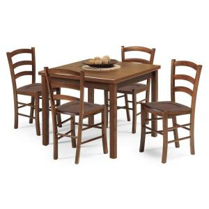 Set Ida Tavolo noce e 4 Sedie noce sedile legno per casa, ristoranti, pizzerie, comunità e bar