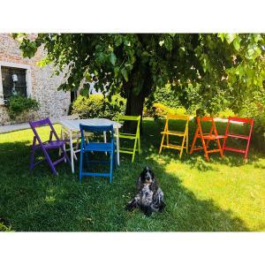 Set Aila Tisch + 4 Stühle zusammenklappbar aus Holz für Zuhause, Restaurants, Pizzerien, Gemeinden und Bars Mobililar MI-SET-PIEGHEVOLE 0